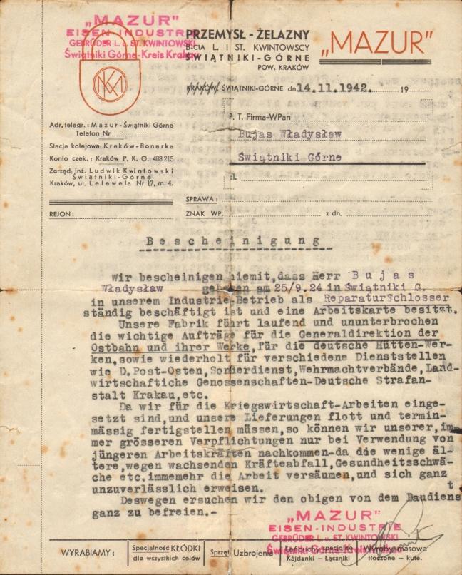 Pismo informujące, że Władysław Bujas posiada stałe zatrudnienie w spółce Mazur.
