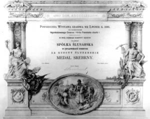 Dyplom dla Spółki Ślusarskiej z wystawy we Lwowie, rok 1894.