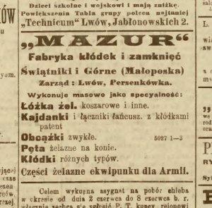 Ryc. 2 Ogłoszenie w Gazecie Lwowskiej z 2 czerwca 1920 r.