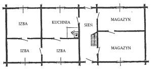 """Ryc. 6 Plan domu """"na dwa końce"""" z XIX w."""